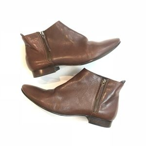 Cole Haan 8.5 Belmont Chestnut Leather Ankle Boots